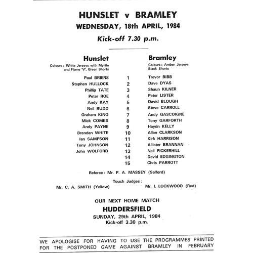 1983/84 Hunslet v Bramley Rugby League Team Sheet