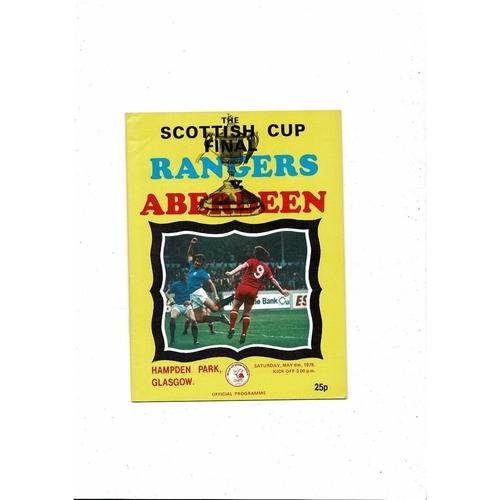 1978 Rangers v Aberdeen Scottish Cup Final Football Programme