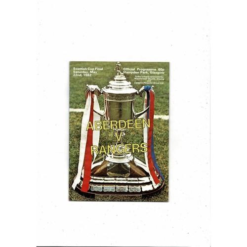 1982 Aberdeen v Rangers Scottish Cup Final Football Programme
