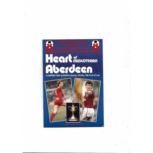 1986 Hearts v Aberdeen Scottish Cup Final Football Programme