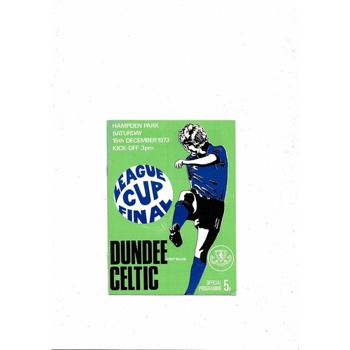 1973 Dundee v Celtic Scottish League Cup Final Football Programme