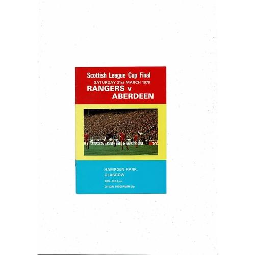 1979 Rangers v Aberdeen Scottish League Cup Final Football Programme. March