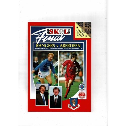 1989 Rangers v Aberdeen Scottish League Cup Final Football Programme