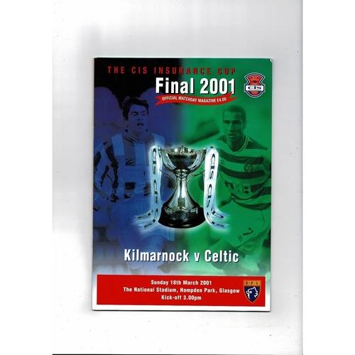 2001 Kilmarnock v Celtic Scottish League Cup Final Football Programme