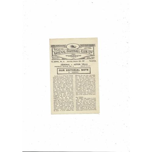 1946/47 Arsenal v Aston Villa Football Programme