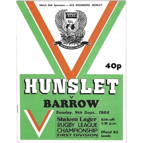 1984/85 Hunslet v Barrow Rugby League programme