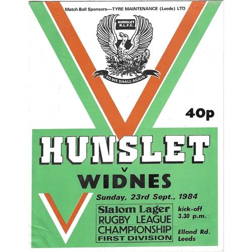 1984/85 Hunslet v Widnes Rugby League programme