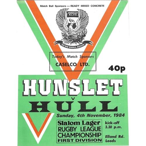 1984/85 Hunslet v Hull Rugby League programme