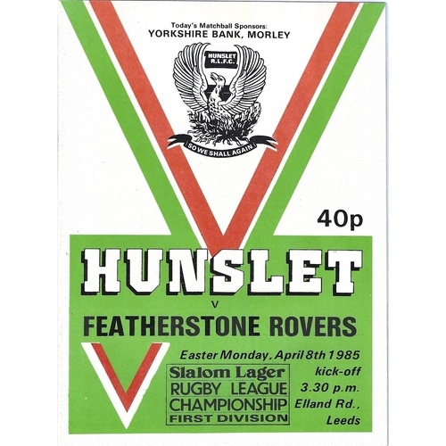 1984/85 Hunslet v Featherstone Rovers Rugby League programme