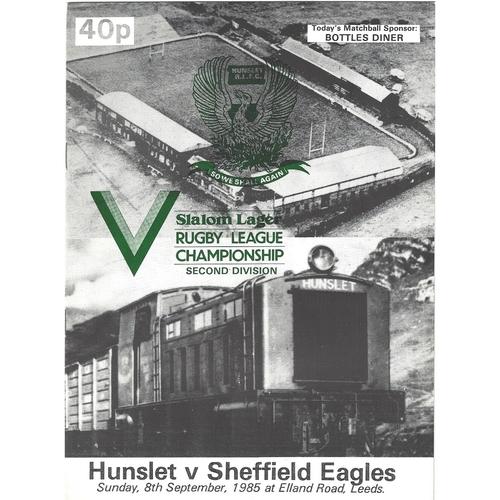 1985/86 Hunslet v Sheffield Eagles Rugby League programme
