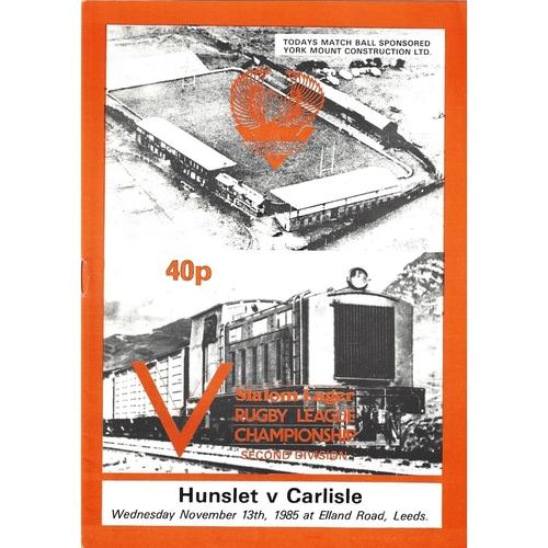 1985/86 Hunslet v Carlisle Rugby League programme