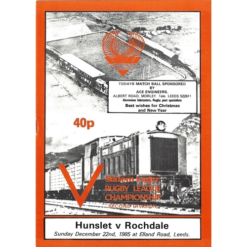 1985/86 Hunslet v Rochdale Hornets Rugby League programme