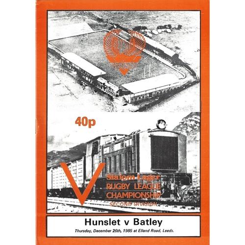 1985/86 Hunslet v Batley Rugby League programme