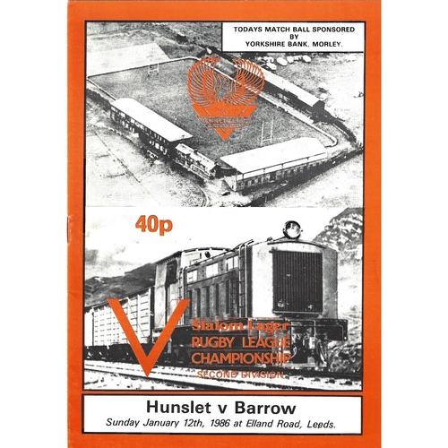 1985/86 Hunslet v Barrow Rugby League programme