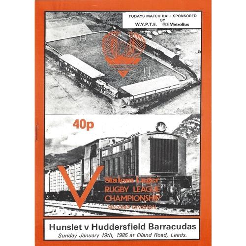 1985/86 Hunslet v Huddersfield Barracudas Rugby League programme