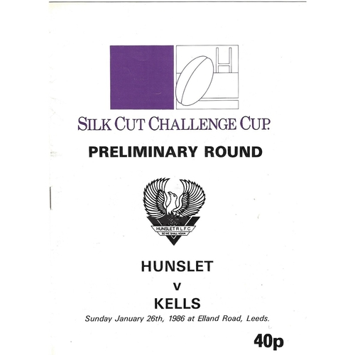 1985/86 Hunslet v Kells Rugby League Challenge Cup Preliminary Round programme
