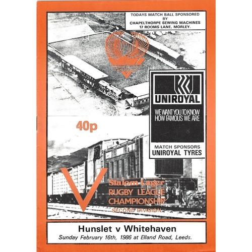 1985/86 Hunslet v Whitehaven Rugby League programme
