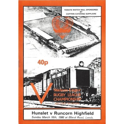1985/86 Hunslet v Runcorn Highfield Rugby League programme