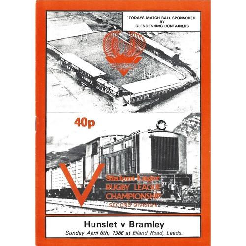 1985/86 Hunslet v Bramley Rugby League programme