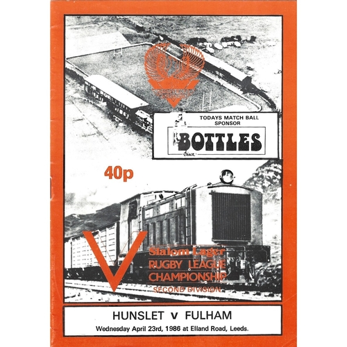 1985/86 Hunslet v Fulham Rugby League programme