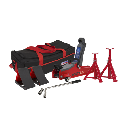 Trolley Jack 2tonne Low Entry Short Chassis - Red & Accessories Bag Combo -Sealey - 1020LEBAGCOMBO
