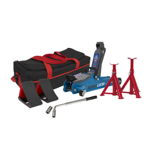 Trolley Jack 2tonne Low Entry Short Chassis - Blue and Accessories Bag Combo - Sealey - 1020LEBBAGCOMBO
