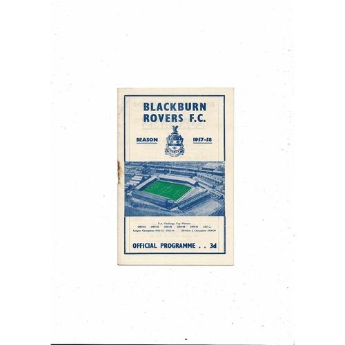 1957/58 Blackburn Rovers v Stoke City Football Programme