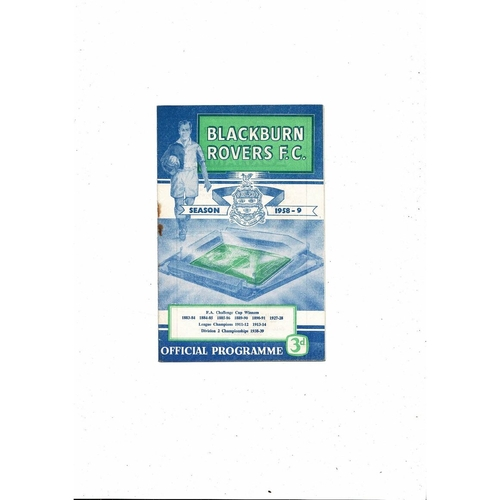 1958/59 Blackburn Rovers v Bolton Wanderers Football Programme