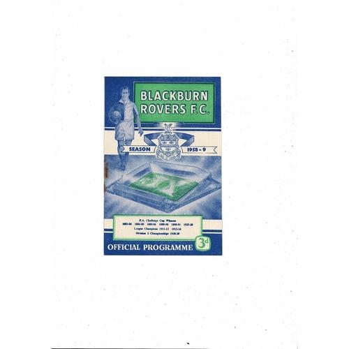 1958/59 Blackburn Rovers v Burnley Football Programme