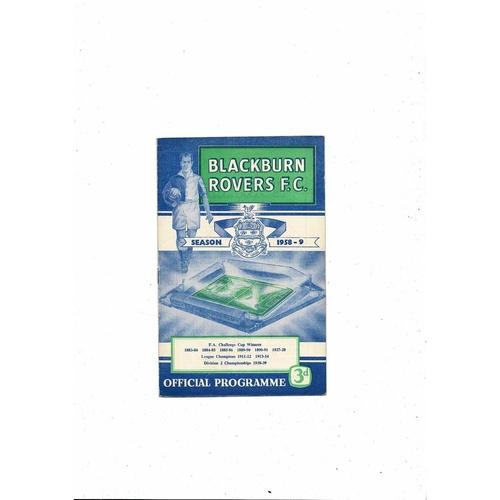1958/59 Blackburn Rovers v Leeds United Football Programme