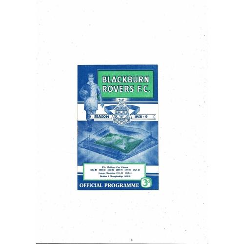 1958/59 Blackburn Rovers v West Bromwich Albion Football Programme