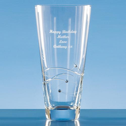 Diamante Conical Vase with Spiral Design Cutting - 25cm