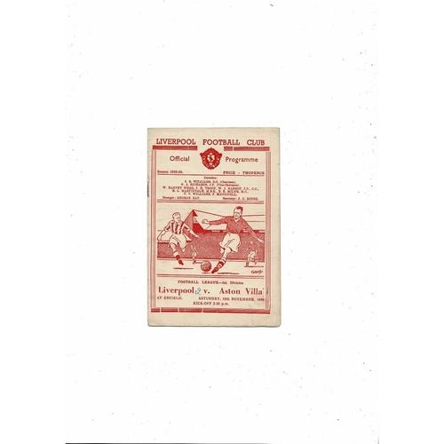 1949/50 Liverpool v Aston Villa Football Programme