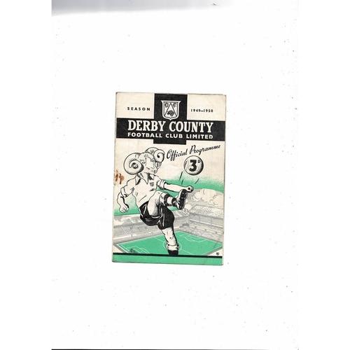 1949/50 Derby County v Aston Villa Football Programme