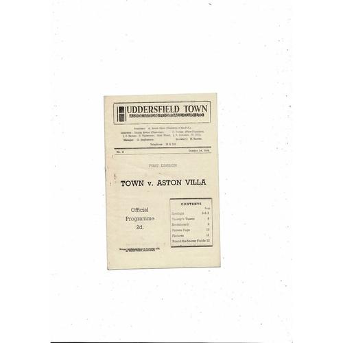 1949/50 Huddersfield Town v Aston Villa Football Programme