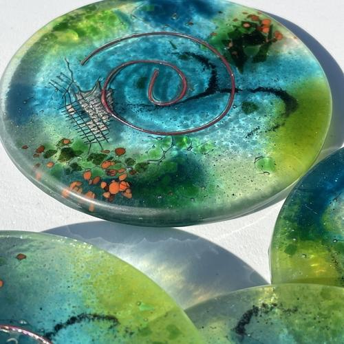 Light Green Aqua Coasters (Round)