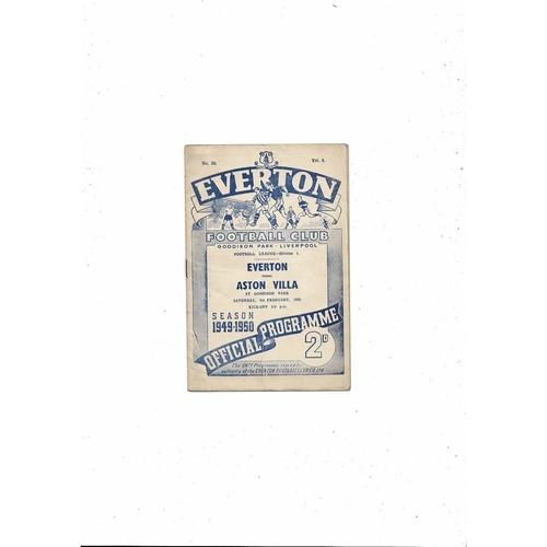 1949/50 Everton v Aston Villa Football Programme