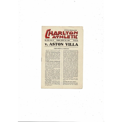 1949/50 Charlton Athletic v Aston Villa Football Programme