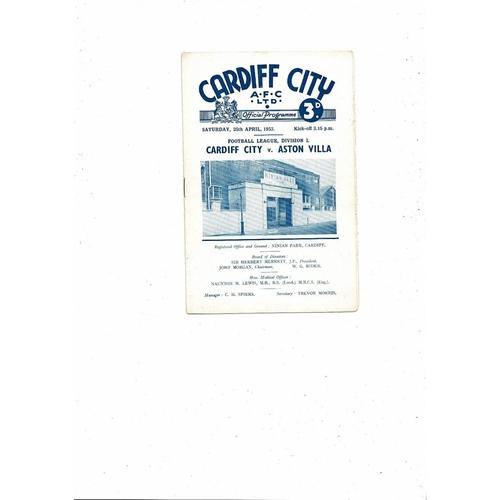 1952/53 Cardiff City v Aston Villa Football Programme