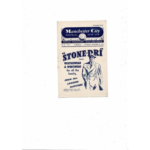 1951/52 Manchester City v Arsenal Football Programme