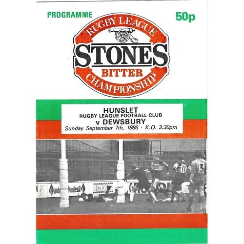1986/87 Hunslet v Dewsbury Rugby League programme