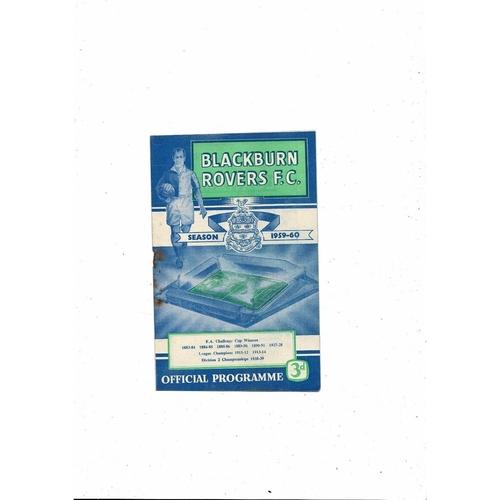1959/60 Blackburn Rovers v Fulham Football Programme