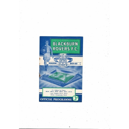 1959/60 Blackburn Rovers v Nottingham Forest Football Programme