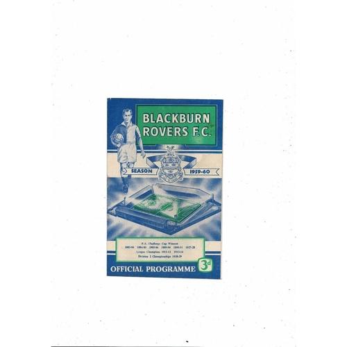 1959/60 Blackburn Rovers v Newcastle United Football Programme