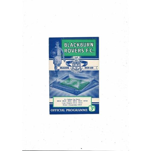 1959/60 Blackburn Rovers v Wolves Football Programme