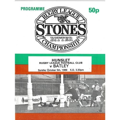 1986/87 Hunslet v Batley Rugby League programme