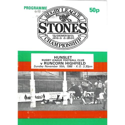 1986/87 Hunslet v Runcorn Highfield Rugby League programme
