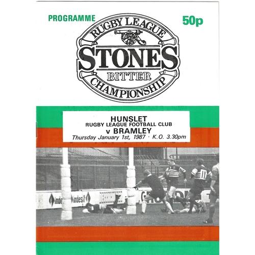 1986/87 Hunslet v Bramley Rugby League programme