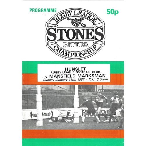 1986/87 Hunslet v Mansfield Marksman Rugby League programme