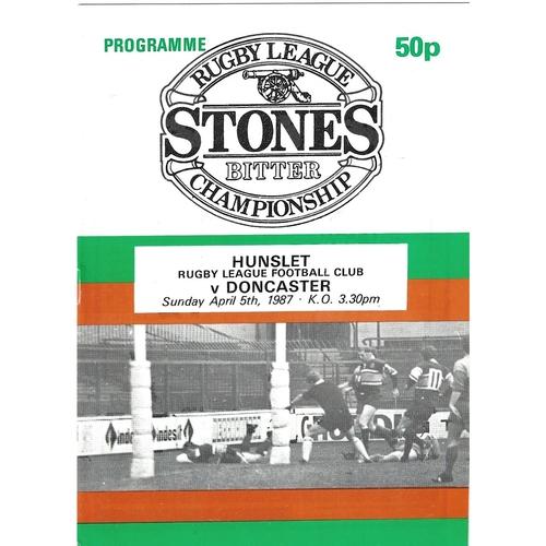 1986/87 Hunslet v Doncaster Rugby League programme